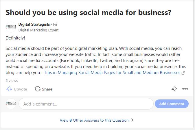 quora social media for business