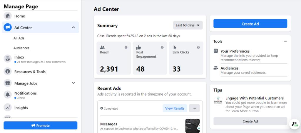 new facebook ad center
