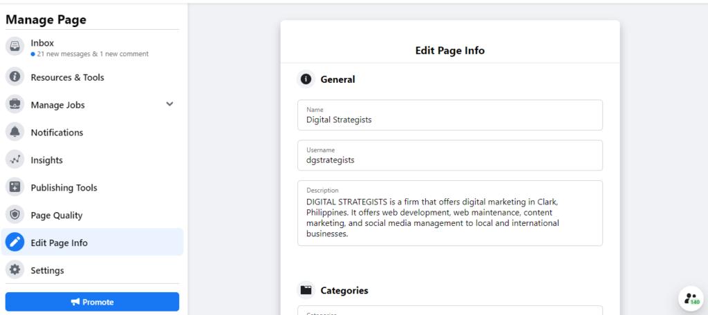 edit page info