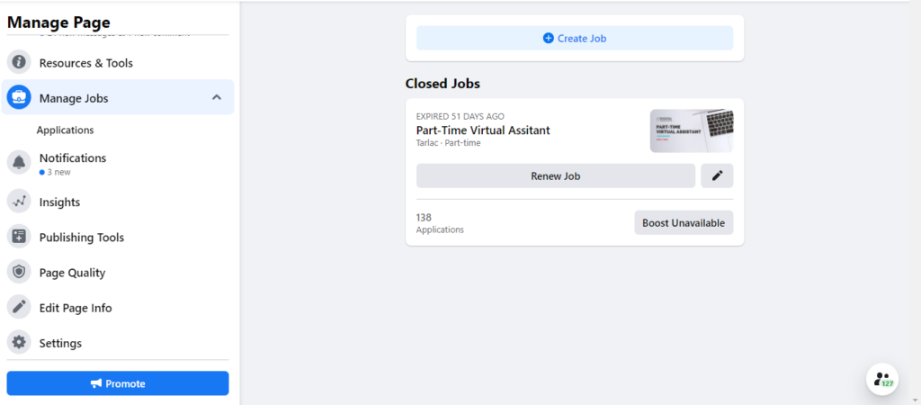 new facebook manage jobs
