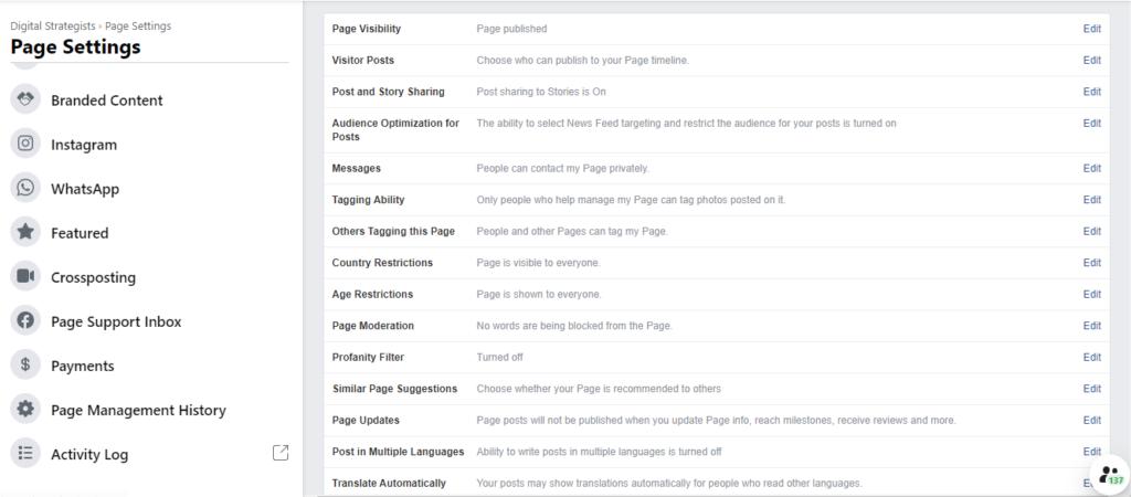 new facebook settings